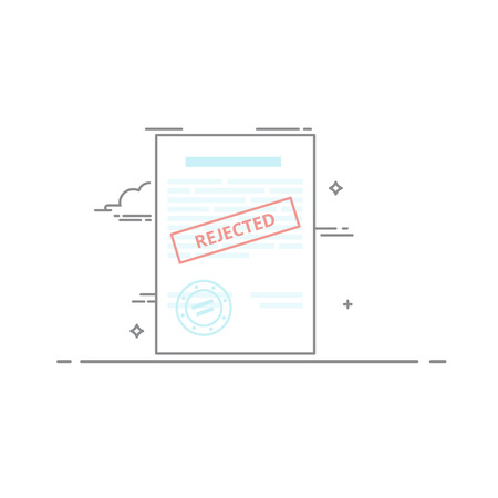 rejection: The concept of rejection of the document made in a linear style dark outline. Red stamp. Vector illustration isolated on white background