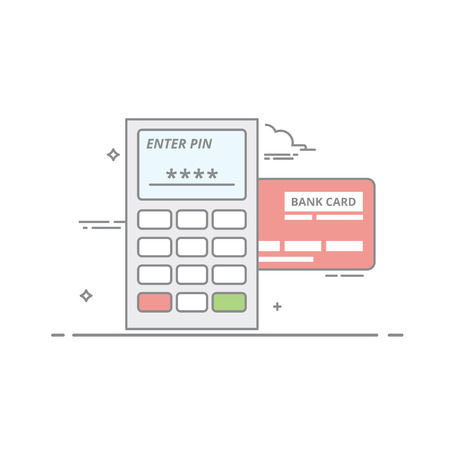 Concept of payment by credit card through the terminal. An electronic device with buttons and the screen for receiving payments. Request a PIN code. Vector isolated illustration in a linear style