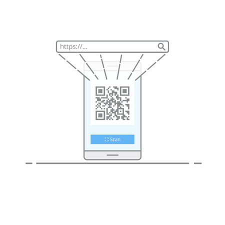 Concept scanning qr code with the camera on your mobile phone. A quick way to go to the website or other information. Vector illustration in a linear style isolated on white background