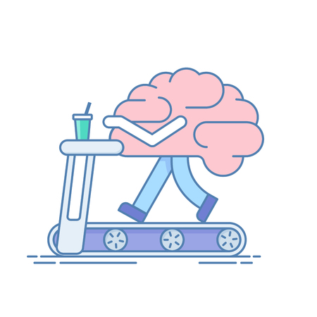 science symbols metaphors: Brain Workout. The concept of brain activity. Training or sports activities on the treadmill . Vector illustration in a linear style isolated on white background