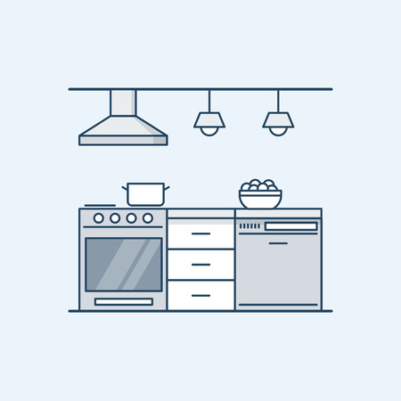 modern kitchen interior: Modern kitchen interior with gas stove and dishwasher. Built-in appliances. Vector illustration in a linear style, isolated on a gray background