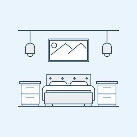 bedside tables: Modern design bedroom with a double bed and bedside tables. The big picture on the wall and light fixtures. Vector illustration in a linear style, isolated on a gray background