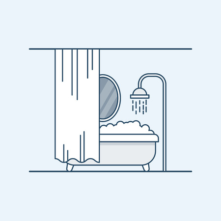 fenced: Modern interior design of a bathroom or shower room. Bathroom with foam and fenced mirror shutter. Vector illustration in a linear style, isolated on a gray background