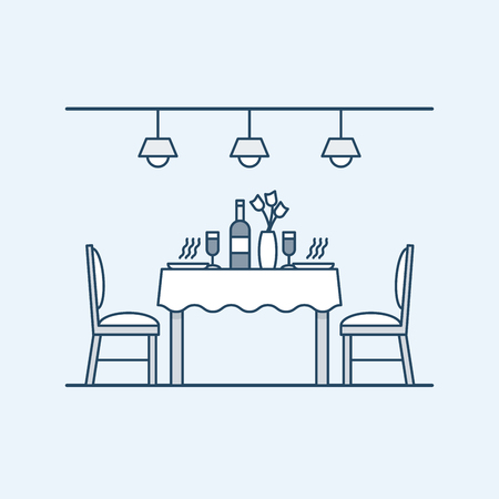 Modern interior dining room with table and chairs and served with two people. Bottle of wine and glasses. The lighting on the ceiling. Vector illustration in linear style, isolated