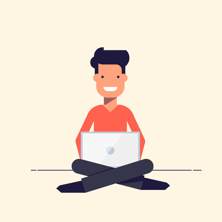 Young people sitting with a laptop. Smiling boy or man. Vector illustration in flat style isolated on white background