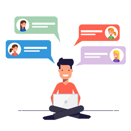 Happy guy is overwritten with the girls on a dating site. Communication via chat or e-mail on the Internet. A man sits with a laptop on his knees.  illustration in flat style Illustration