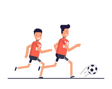 penalty: Two football players running after the ball. Team play. Training or playing sports. The competition on the game of football. Happy athletes.  illustration in a flat style