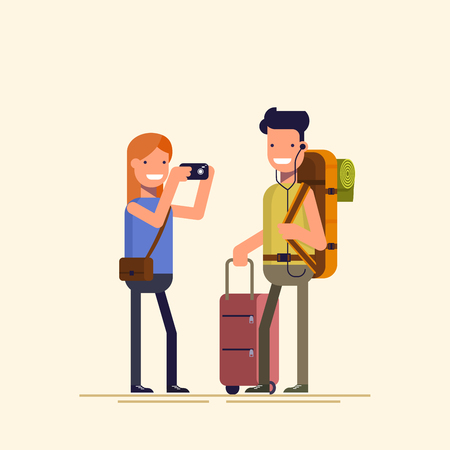 Tourists are photographed. She takes on the camera guy. Young man posing with shopping bags. The family during the holidays or weekends.  illustration in a flat style Illustration