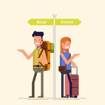 Two travelers are choosing the route next to the pointer. A guy and a girl can not decide where to spend a holiday or weekend. Difficult choice. The family during the holidays. Flat illustration