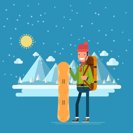 Happy man with a snowboard on a background of winter mountains. Occupation dangerous extreme sport. Northern landscape with lake and forest.  illustration in a flat style