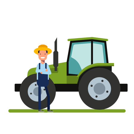 agriculture machinery: Happy Farmer standing next to the new tractor. Machinery for agriculture. The worker on the plantations or in the garden. A man in a straw hat. Heavy Equipment. Flat vector illustration