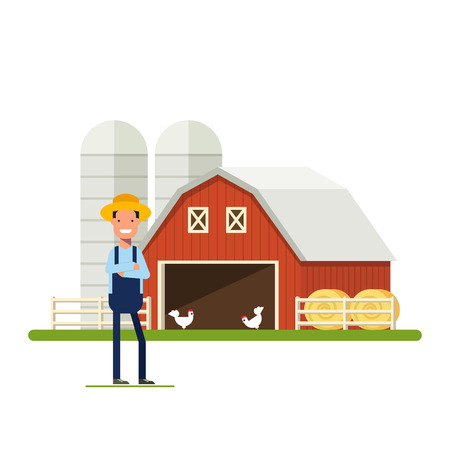 happy farmer: Flat Happy Farmer standing next to a farm. Barn with chickens and hay. A man in a straw hat against the backdrop of agricultural buildings. Storage of grain. An employee in the garden or plantation