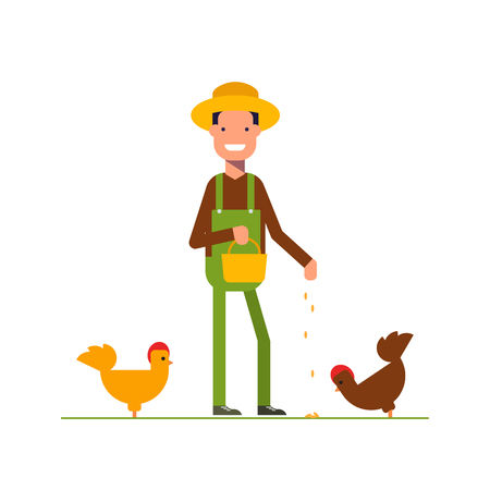 happy farmer: Happy farmer in a straw hat feeds the chickens. The man is engaged in agriculture. Cartoon character in work clothes. Vector illustration in a flat style isolated on white background