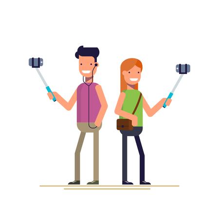 소년과 소녀는 스마트 폰에 셀카 사진을 확인합니다. 휴대 전화와 함께 사진을 촬영 스틱. 행복 한 사람. 플랫 스타일에서 벡터 일러스트 레이 션 흰색