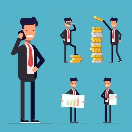 Businessman set. Cartoon character in a business suit. The man in the working environment. Businessman at work. Happy businessman in a flat style. Businessman in different poses
