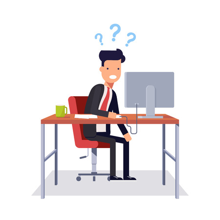 understand: Businessman does not understand what was going on. Man in a business suit sitting in a chair at a desk and looking at computer monitor. Vector illustration in flat style isolated on white background Illustration