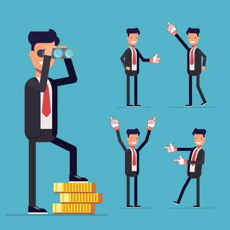 Businessman set. A man stands on money and looking through binoculars. People voting in business suits showing thumbs up or point to the side. Cartoon characters isolated on blue background.