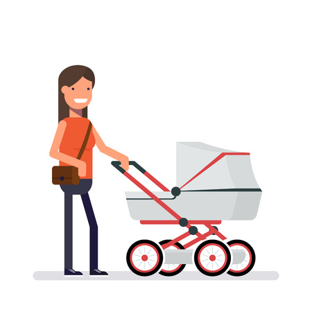 perambulator: Woman standing next to the pram. Girl on a walk with the baby. Man with female purse on her shoulder. Cartoon character in a flat style isolated on white background.