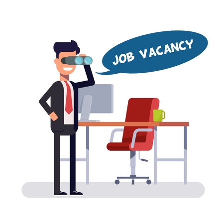 promising: Free vacancy for a promising place. Leader is looking for new employees. Head in search of people to a new position. Man in a business suit near a computer desk looking through telescope or binocular.