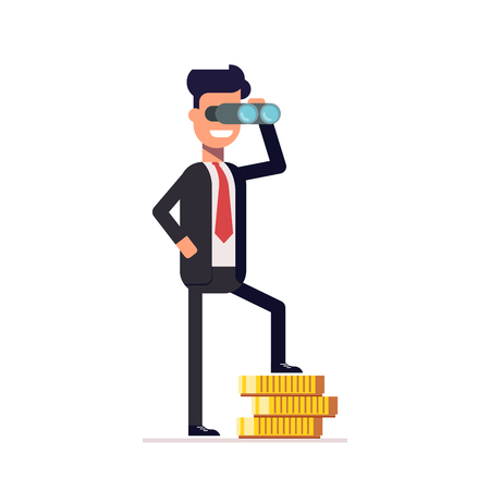 Businessman looking through binoculars, and is on the money. Happy man in a business suit thinking about investments. A man looks into the future. Vector illustration in a flat style Illustration