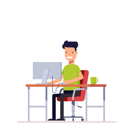 A young employee working at the computer. Programmer or freelancer working at the workplace. Happy young man uses the computer. Monitor and coffee on your table Illustration