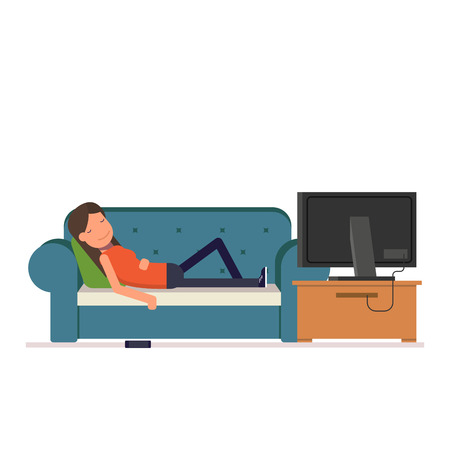 watching television: The girl sleeps on the sofa watching television. Tired woman dropped her phone while you sleep. Vector, illustration EPS10