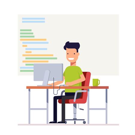 젊은 프로그래머가 컴퓨터 코드를 작성합니다. 책상에 앉아 웃는 남자. 직장 전문가. 벡터, 그림 일러스트