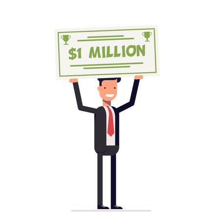 손에 백만 달러의 큰 체크를 들고 행복 사업가 또는 관리자. 웃는 사람. 벡터, 그림
