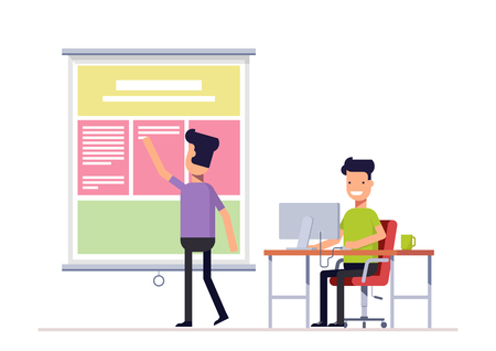 coordinated: Programmer and designer working in office on the web site or landing page. Workers team Well coordinated work of two people. Vector, illustration Illustration