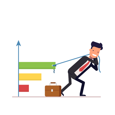 A businessman or manager draws the chart. The concept of profit growth in the form of a graph. Difficult labor. Vector, illustration Illustration