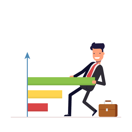 Businessman or manager draws the chart. People pulls a graph and diagram. Successful man in a business suit. Vector, illustration