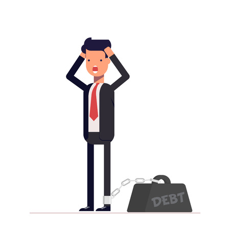 Businessman or manager holds hands behind his head. Man chain attached to the weight. Financial, credit debt. Vector, illustration