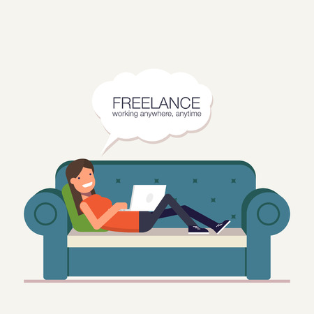 laptop home: Freelancer girl with a laptop lying on bed. Remote way to work from home or anywhere in the world. Vector, illustration .