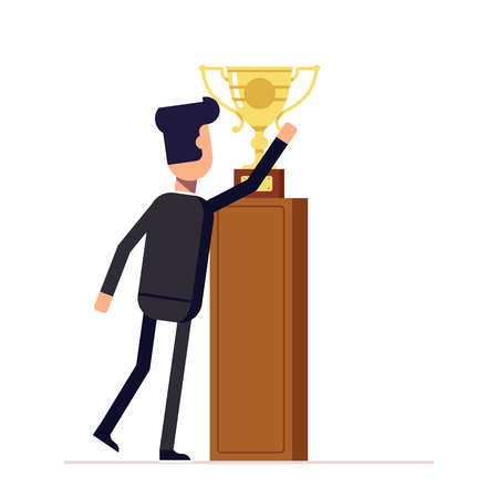 reaches: Businessman or manager reaches for the cup. Man in a business suit about to take victory prize. Back view. Vector, illustration .