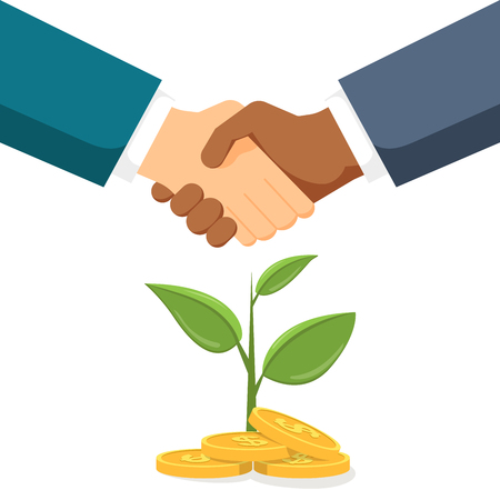 Handshake two men on the background money tree. The conclusion of a contract or partnership. Vector, illustration