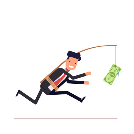 greedy: Businessman or manager is running after money. Greedy man in a business suit with attached rod and dollar. Vector, illustration