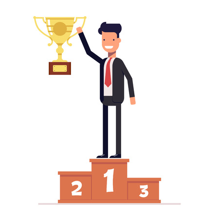 Businessman or manager standing on the winners podium with prize cup in his hand. Vector, illustration Vettoriali