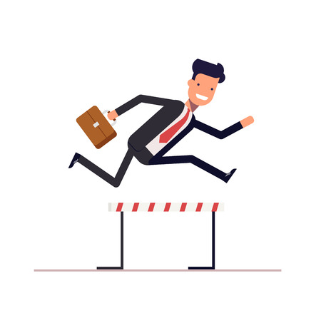 achieving: Businessman or manager runs on obstacle course with a briefcase in hand. Man jumping over the barrier. Achieving goal. Vector, illustration Illustration