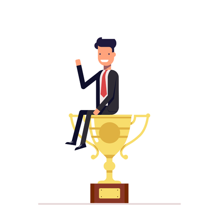 Businessman or manager is sitting on a big cup. Man in business suit won first place and received the prize. Vector, illustration