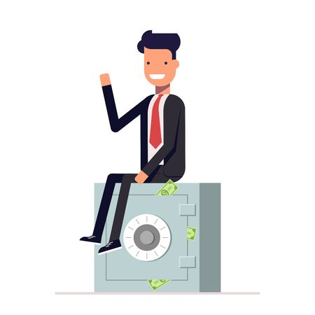 Businessman or manager sits on a private safe. Storage of money. Vector, illustration