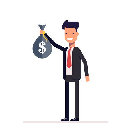 Businessman or manager standing with a bag of money in his hand. Happy man in business suit. Vector, illustration
