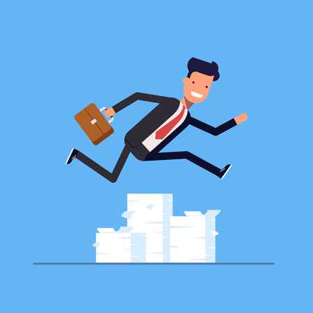 rushing: Businessman or manager jumping over obstacles. Large stack of documents. Man rushing to work. Vector, illustration