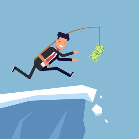 inattention: Businessman or manager is running after money to a steep cliff. Inattentive man in business suit goes the edge of the mountain. Vector, illustration EPS10 Illustration