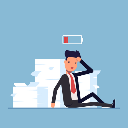 pile of documents: Tired businessman or manager sitting near the pile of documents. Deadline. No energy to work. Discharged battery. Vector, illustration EPS10 Illustration