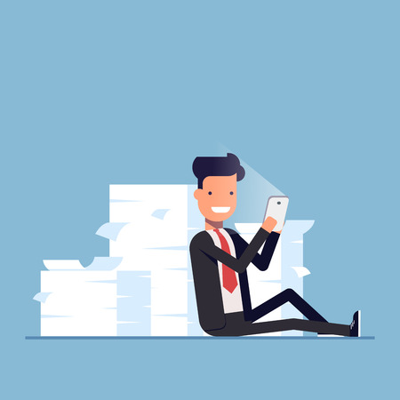 pile of documents: Businessman or manager sits behind a pile of documents and holding mobile phone. Lazy people hid from work. Vector, illustration EPS10