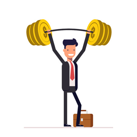 Businessman or manager, are readily raised the bar with the money. Rich man in a business suit. Vector, illustration