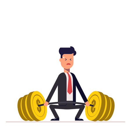Businessman or manager can not lift a heavy barbell with money. Great difficulties. Unattainable. Vector, illustration