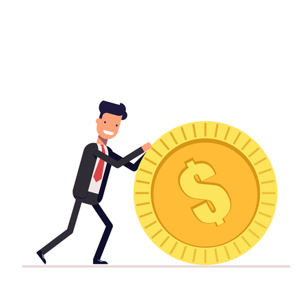 Businessman or manager pushes a gold coin. Man in business suit got the reward. Illustration