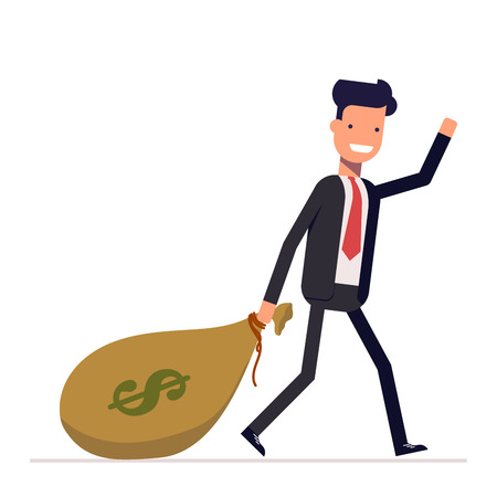 Businessman or manager comes with a bag of money dollars. Happy rich man in business suit waving. Vector, illustration EPS10