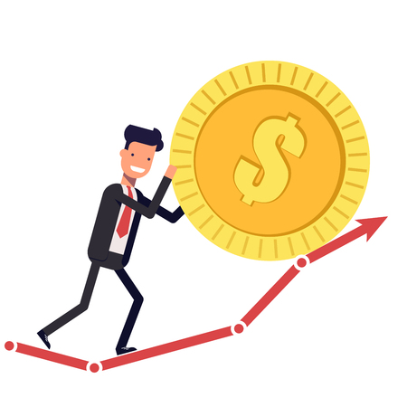 Happy businessman or manager pushes the coin up the chart. Man in a business suit increases profit. Vector, illustration EPS10 Illustration